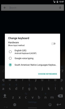 South American Native Languages Keyboard Choice